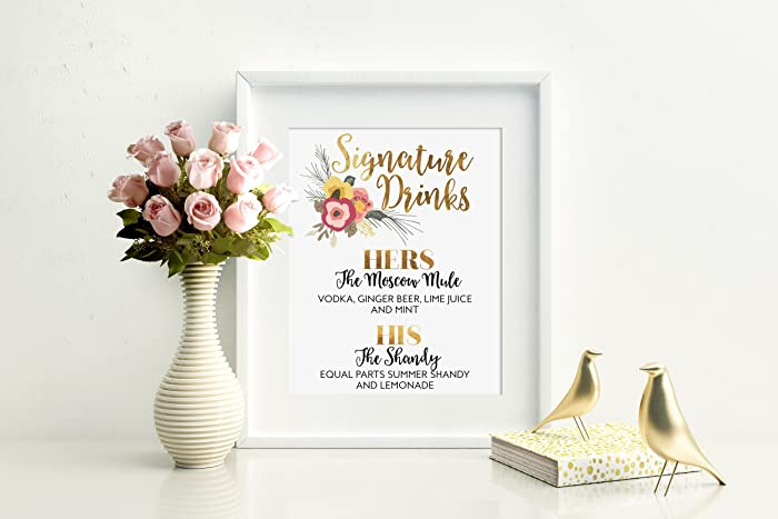 Amazoncom Signature Drinks Sign Custom Wedding Drinks His And