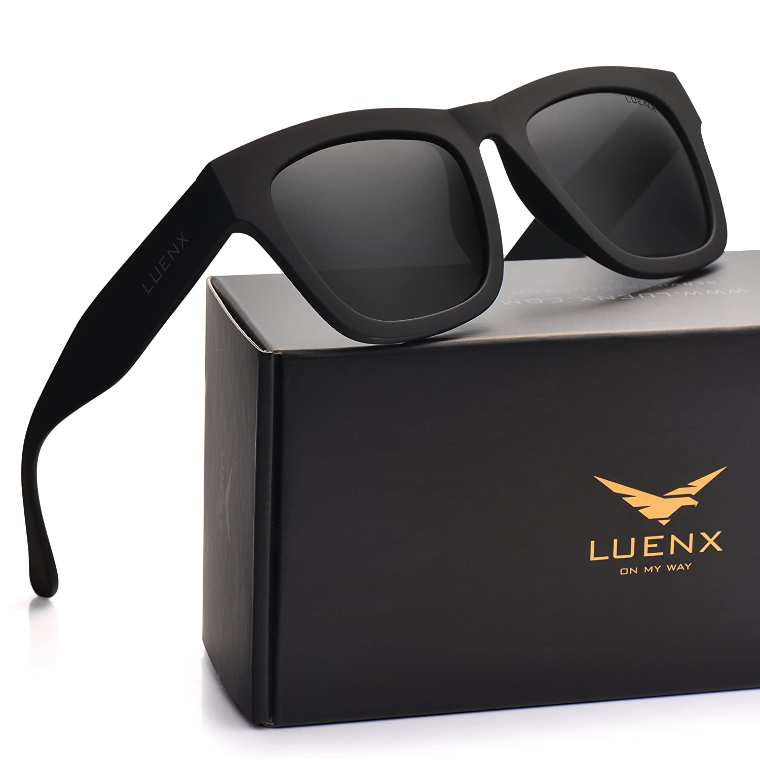 LUENX Mens Wayfarer Polarized Sunglasses Black Lens Matte Black Frame 58MM with Case CA2518-23