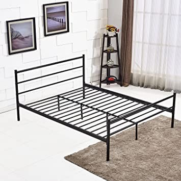 vecelo metal bed frame with headboard and footboard queen size - Steel Bed Frames