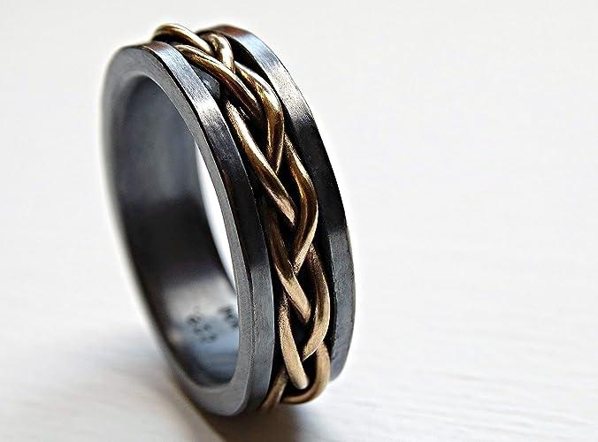 794df76909b797 Amazon.com: mens wedding band viking, celtic wedding ring gold braided ring  black silver, gold promise ring mens, gold mens band braided gold woven ring:  ...