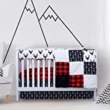 Crib Bedding Sets for Boys - 4 Piece Woodland Set for Baby boy Rustic Nursery Decor | Quilt Blanket, Crib Sheet, Skirt…