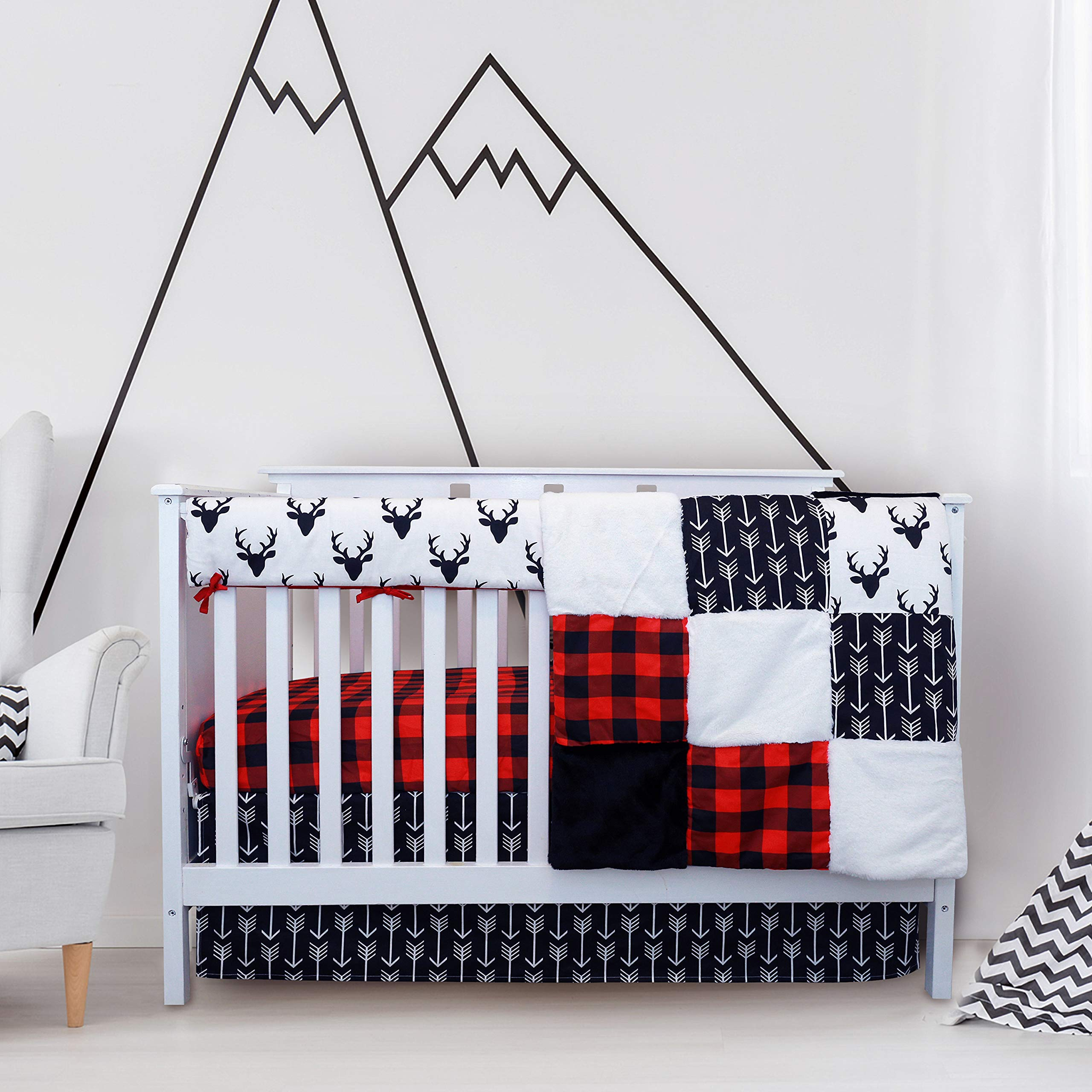 Crib Bedding Sets for Boys - 4 Piece Woodland Set for Baby boy Rustic Nursery Decor   Quilt Blanket, Crib Sheet, Skirt and Rail Cover   Deer Antler, Arrow Buffalo Plaid (Woodland Deer) by JLIKA