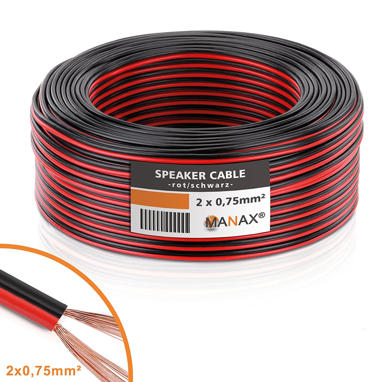 Manax Lautsprecherkabel Boxenkabel 2 x 0,75 mm² CCA rot/schwarz 25 m ...