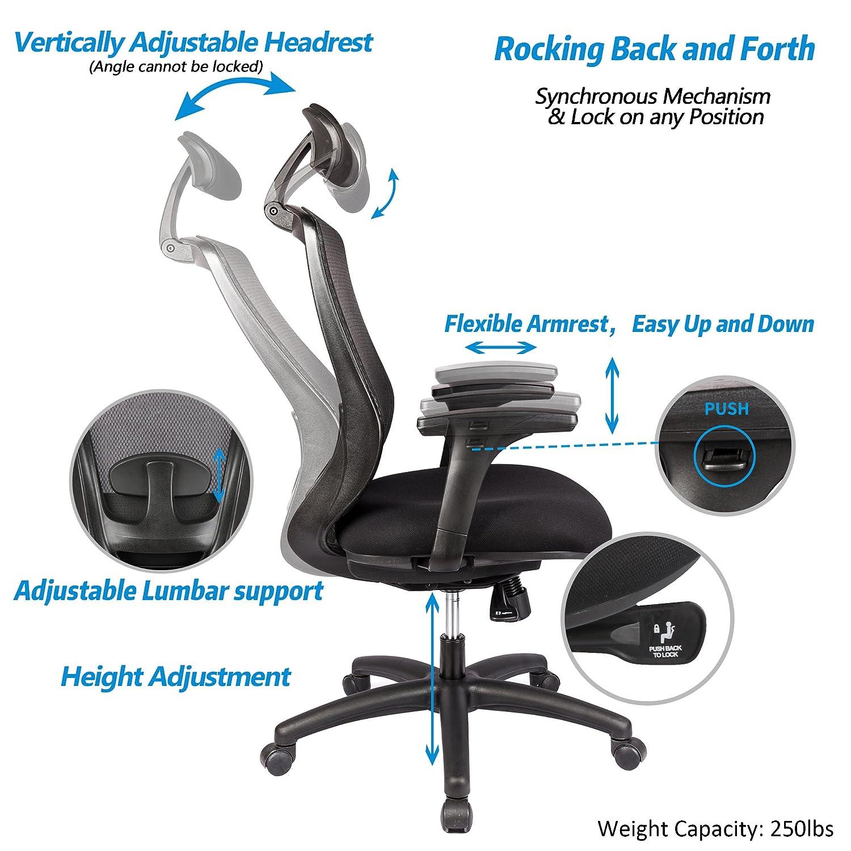 Amazon LONGEM Ergonomic fice Chair with Adjustable Back