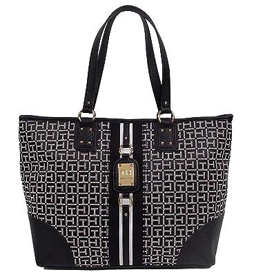 afe7deaacf Amazon.com: Tommy Hilfiger Logo Travel Shopper Large Tote Bag Handbag Purse  - Black / White: Shoes
