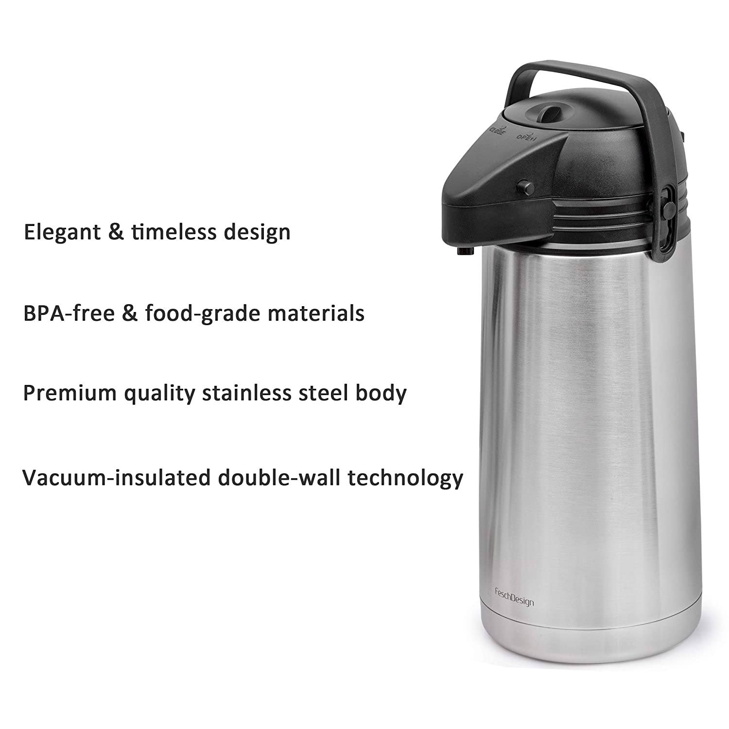 1.9 Liter New 64 Oz BPA-Free Vacuum Insulated Thermos Warm up to 12 Hrs Airpot Coffee Dispenser up to 24 Hrs Stainless Steel Double-Wall Carafe Effectively Keeps Beverages Hot or Cold
