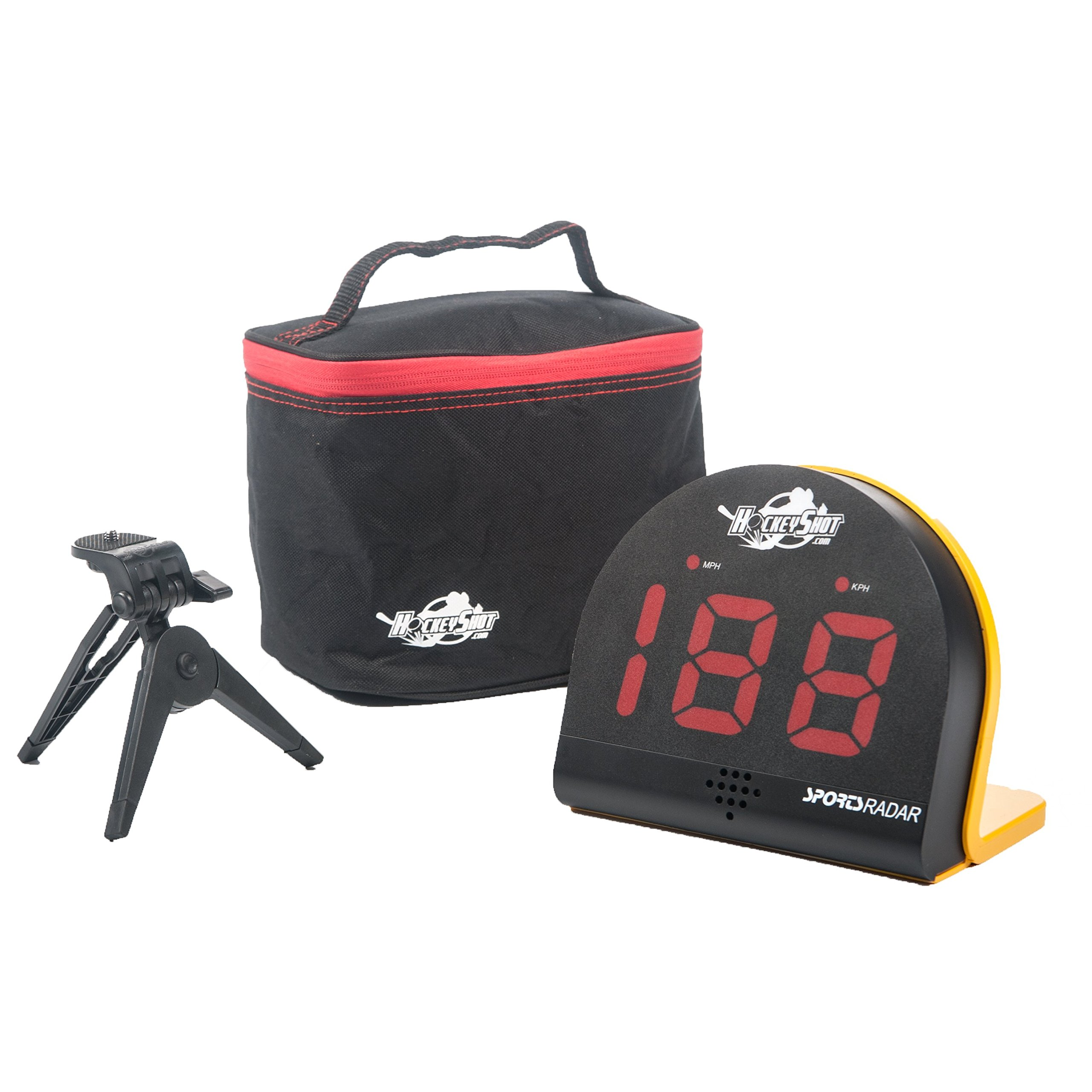 HOCKEYSHOT Puck and Ball Speed Radar Hockey Training Aids Large red 2 1/8'' 3 digit LED display Speed range 3 mph to 150 mph.