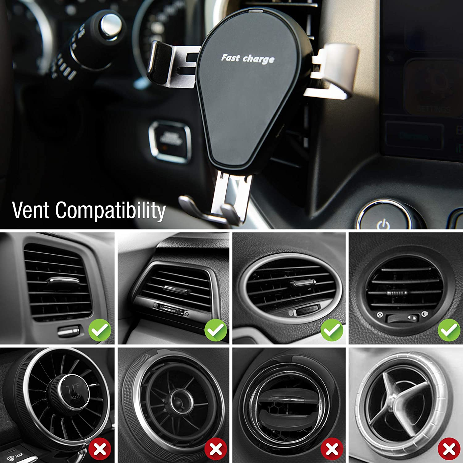 Samsung Galaxy S9//S9+//S8//S8+//S7//Note 8 /& More Fast Charging Compatible with iPhone X Qi Certified iPhone 8//8 Plus Exuby 10W Wireless Car Charger Air Vent Attachment 1-Handed Operation