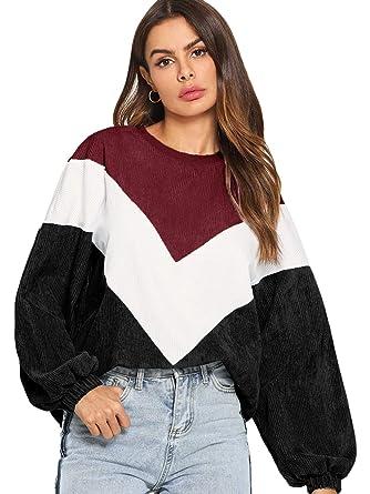 3d10981c7b430 Romwe Women's Loose Colorblock Sweatshirt Lantern Sleeve Round Neck  Pullover Tops Burgundy XS