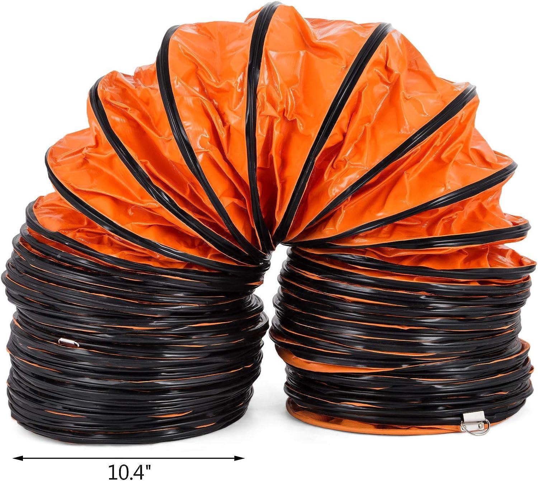 VEVOR Flexible L/üftungsleitung 32FT10m,Lufttransportschlauch 10Inch 250mm Warmluftschlauch Orange 32FT//10m-10inch//250mm