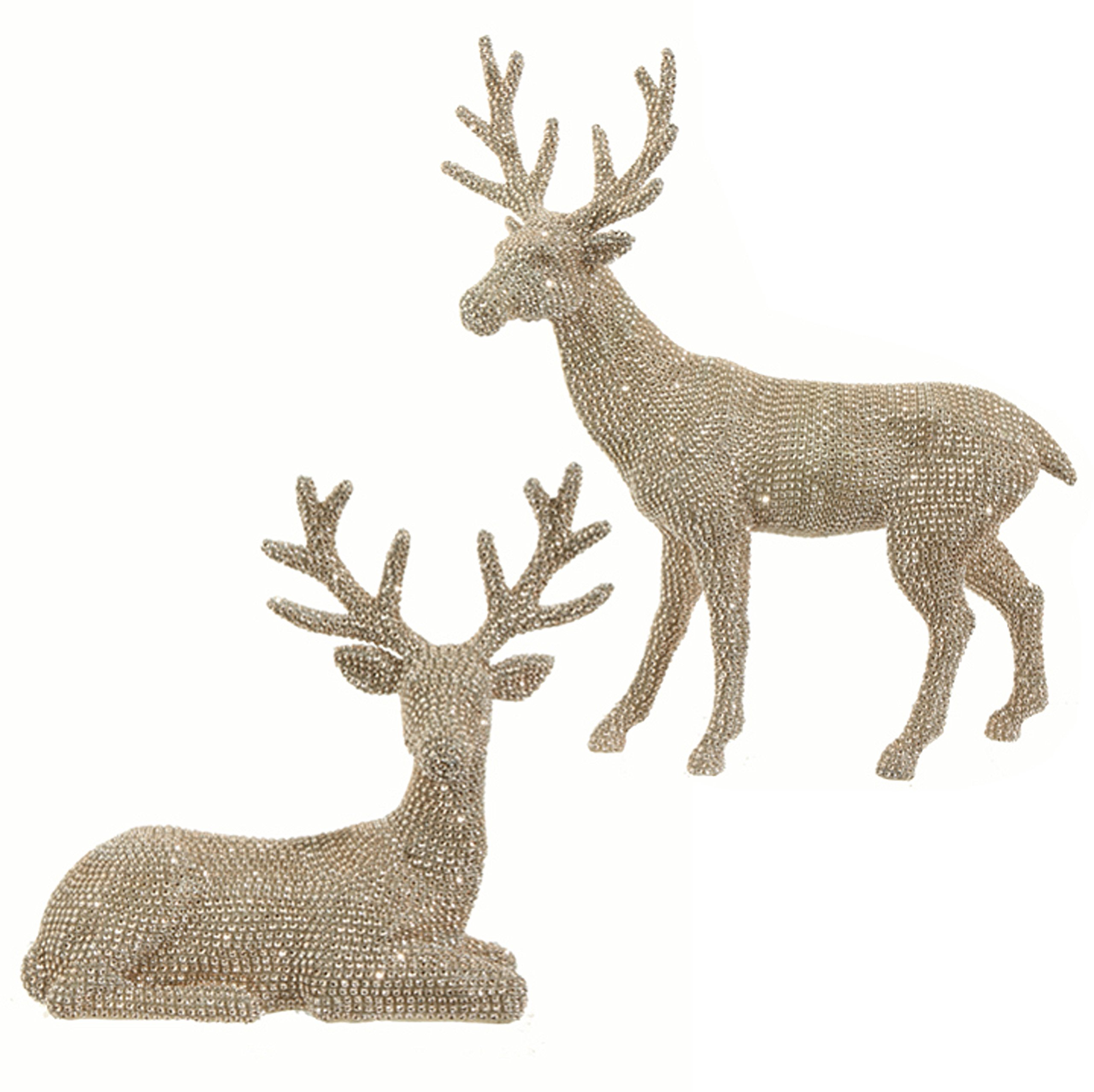 20 Inch High Set of 2 Rhinestone Champagne Gold Deer - Christmas Reindeer in Glittered Rhinestone by Raz