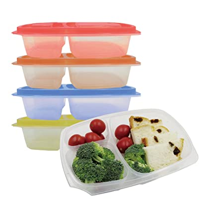 Amazoncom Prefer Green 3 Compartment Bento Lunch Box Containers
