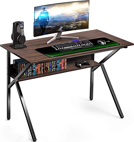 FITUEYES Gaming Computer Desk with Storage Shelf K Shaped Sturdy 42 Writing Table for Home and Office KCD110601WE