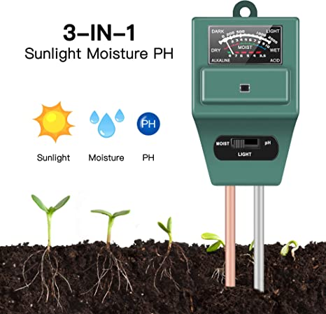 Farm Green Indoor and Outdoors Soil Tester Use No Battery 3-in-1 Soil Tester for Moisture Soil PH Meter Moisture Tester Light Sensor Meter Plant Tester for Gardening Tools Plants and Herbs Lawn