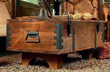 Holztruhe Tisch alte truhe kiste tisch shabby chic holz beistelltisch holztruhe