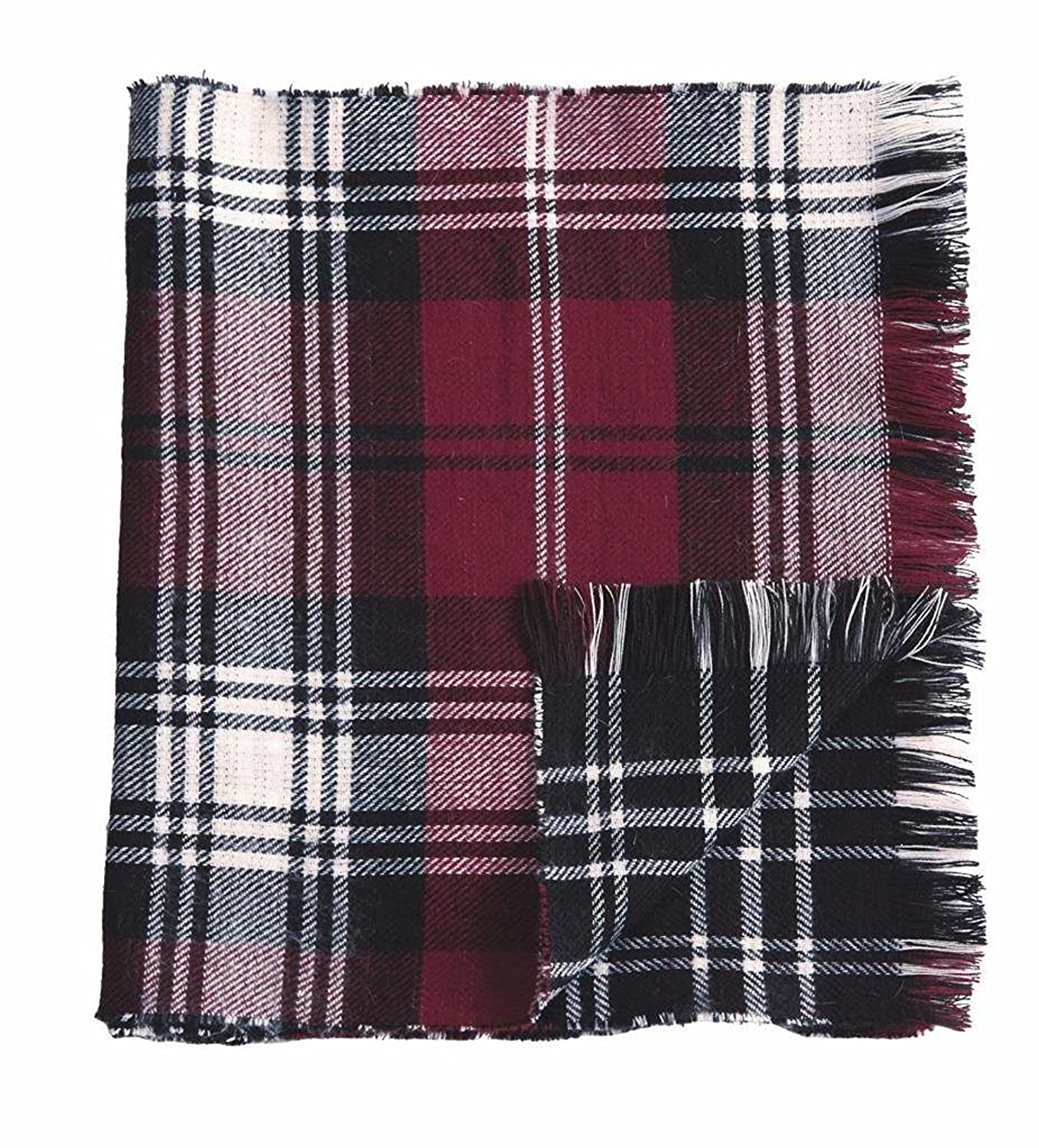 d82f04a03a1 Mud Pie Knit Plaid Blanket Reversible Scarf