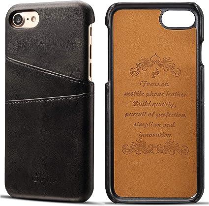 Étui portefeuille en cuir avec porte-cartes pour iPhone X/8/7/6S/6 Plus - Black, size: iPhone 7/8 (4.7