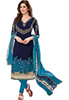 Ishin Synthetic Navy Blue & Blue Printed Party Wear Wedding Wear Casual Wear Bollywood New Collection Latest Design Trendy Printed Unstitched Salwar Suit Dress Material (Anarkali/Patiyala) With Dupatta