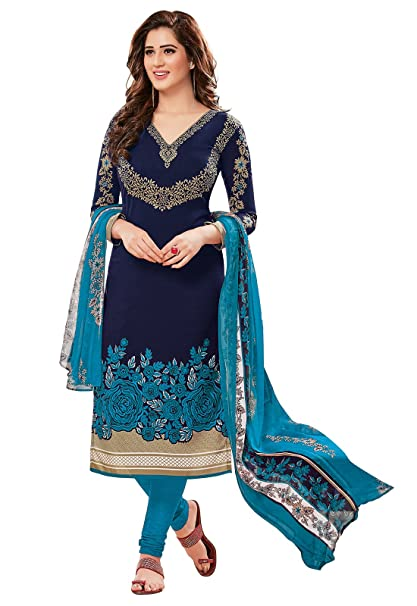 Ishin Women's Synthetic Dress Material (Ddrrjgr-Rmzm9088_Blue_Free Size) Dress Material at amazon