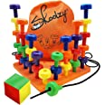 Skoolzy Peg Board Set - Montessori Toys for Toddlers, Preschool Kids | 30 Lacing Pegs for Learning Games, Dice Colors Sorting