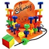 Skoolzy Peg Board Set - Montessori Toys for Toddlers, Preschool Kids   30 Lacing Pegs for Learning Games, Dice Colors Sorting