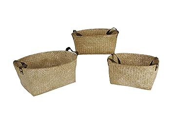 wald imports whitewash seagrass decorative storage baskets - Decorative Storage Baskets