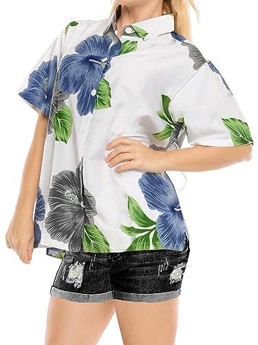 Collar de Ropa de Playa con Botones de la Blusa Superior Encubrimiento Camisa Hawaiana Manga Corta D...