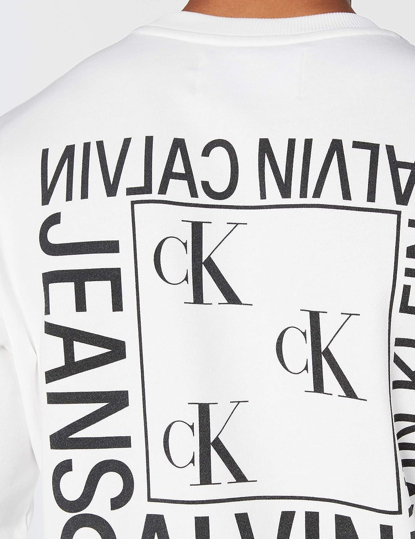 Calvin Klein Jeans Flyer Placement Crew Neck Sweat-Shirt Homme Blanc (Bright White Yaf)