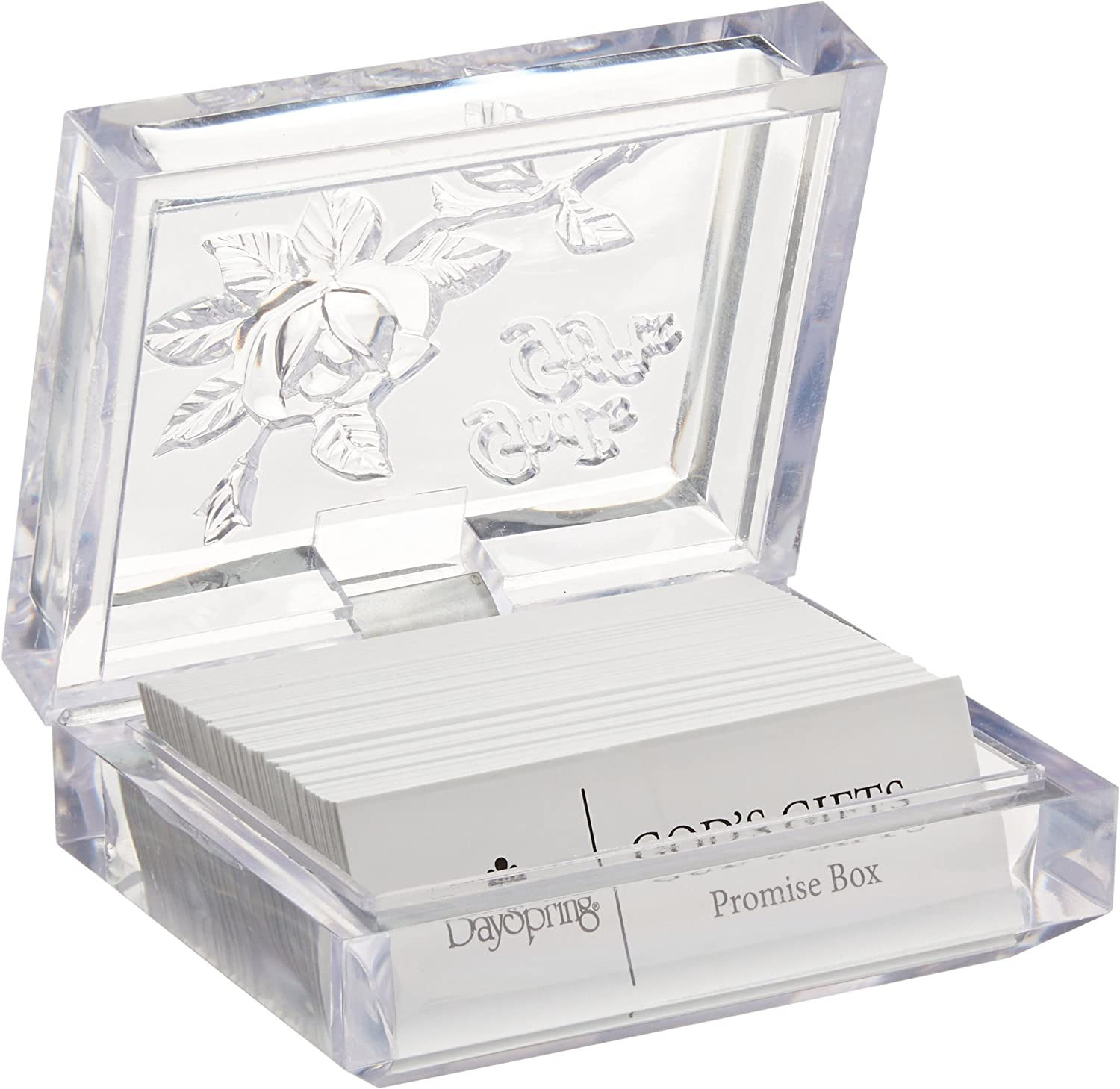 "Dayspring Inspirational Promise Box - God's Gifts, Clear (T9652), 3 1/2"" x 2 3/4"" x 2 3/4"""