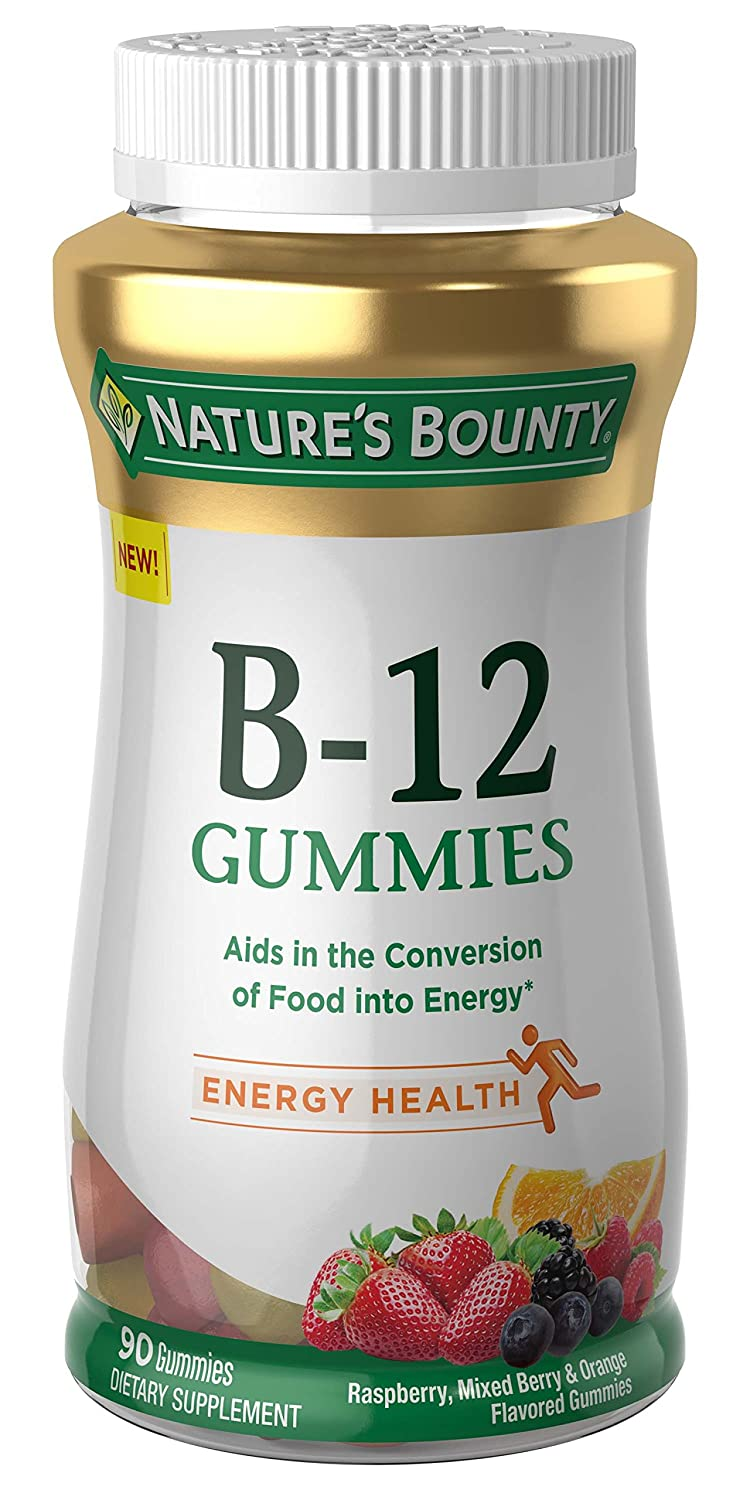 Nature s Bounty B-12, 90 Gummies, Fruit Flavored Gummy Vitamin Supplements for Adults
