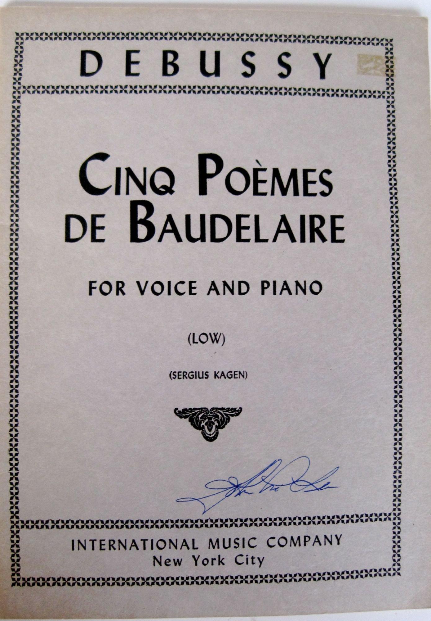 debussy claude cinq poemes de charles baudelaire high voice