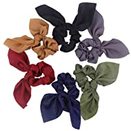 Hair Scarf Silk Scrunchies Ponytail - (6 Pack) SOLID DREAM COLORS Unique Hair Ties Designs to match Different Outfits – Cool Satin Silk Hair Bands for Women Teen Tween Hair Scarves Tie