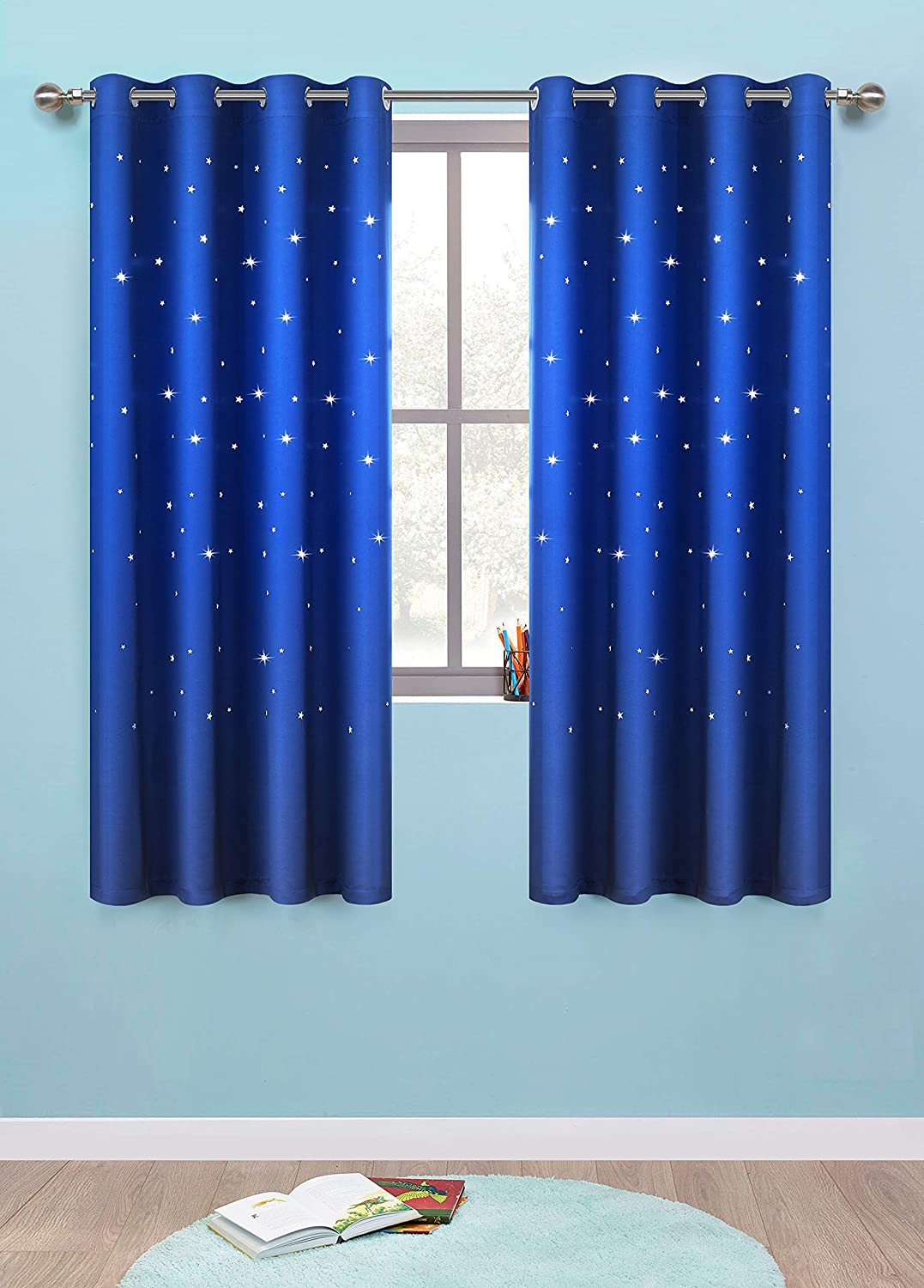 Anjee Romantic Starry Sky Space Curtains For Kids Room (2 Panels 2  Tiebacks), Blackout Curtains With Punched Out Stars, Cute Window Drapes(52  X 63 Inches, ...