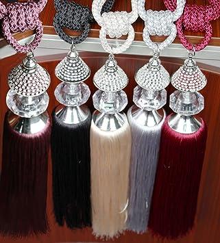Paire de rideaux avec attaches rideau Pampilles cristal Embrasse de ...