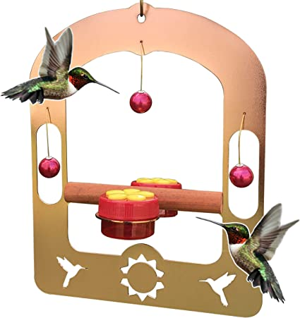 Amazon Com Aroma Trees Handcrafted Copper Hummingbird Swing With 2 Handheld Feeders Garden Outdoor