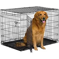 """New World 42"""" Double Door Folding Metal Dog Crate, Includes Leak-Proof Plastic Tray; Dog Crate Measures 42L x 30W x 28H…"""