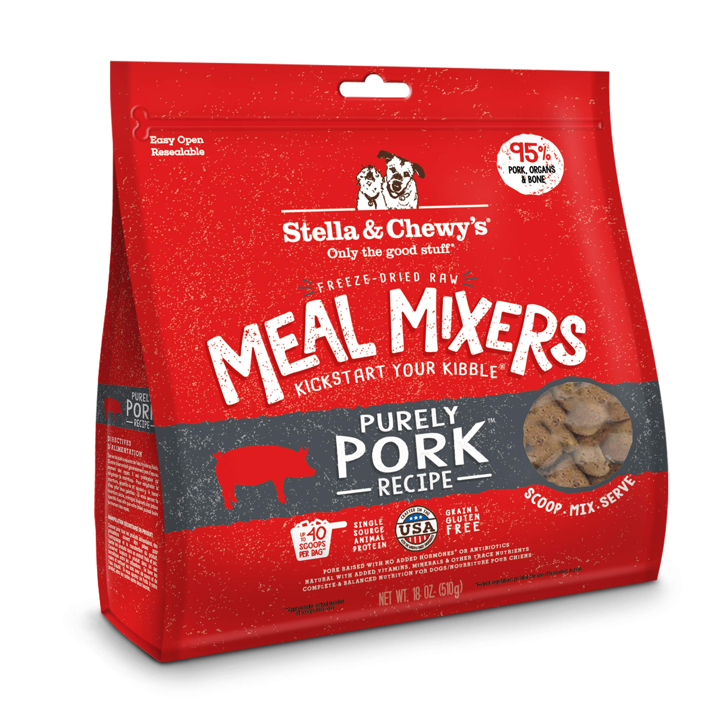 Stella & Chewy's Freeze-Dried Raw Purely Pork Meal Mixers Dog Food Topper, 18 oz. Bag by Stella & Chewy's