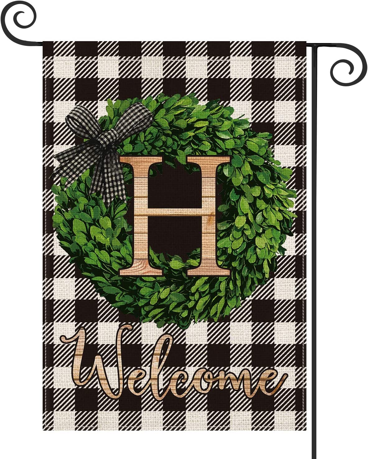 AVOIN Boxwood Wreath Monogram Initial Family Last Name H Garden Flag Vertical Double Sided, Welcome Buffalo Check Plaid Rustic Farmhouse Flag Yard Outdoor Decoration 12.5 x 18 Inch