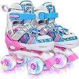 Wheelkids Roller Skates for Girls, Kids Roller Skates for Toddlers Children Outdoor Indoor Adjustable 4 Sizes with Light…