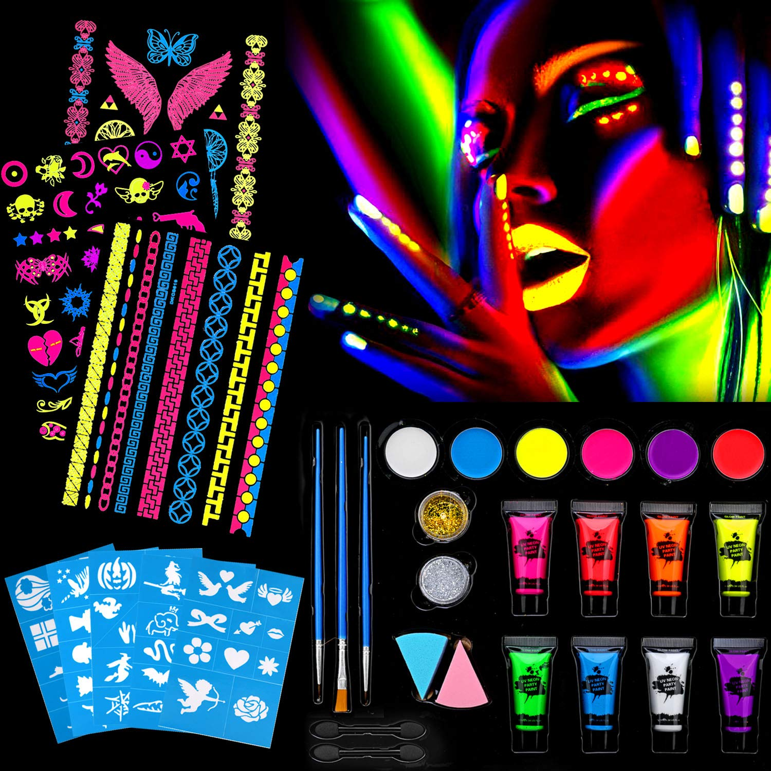 UV Glow Water Based face & Body Painting kit, HOWAF UV Body Art & Temporary Tattoo Kit with Glitter Powder, Templates, Brushes, Sponges, Gift for Kids and Parties, Halloween Makeup