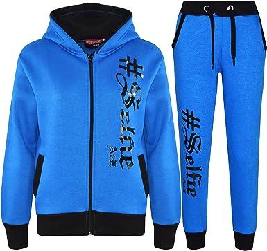 BoutiqueFashion Girls Selfie Printed Long Sleeve Hooded Top /& Bottom Set Kids Tracksuit 7-13 Years