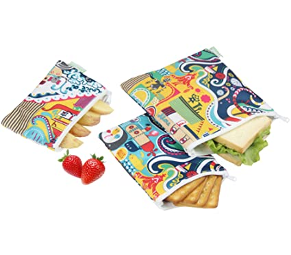 Wegreeco Reusable Sandwich & Snack Bags - Set of 3 - (Odyssey)