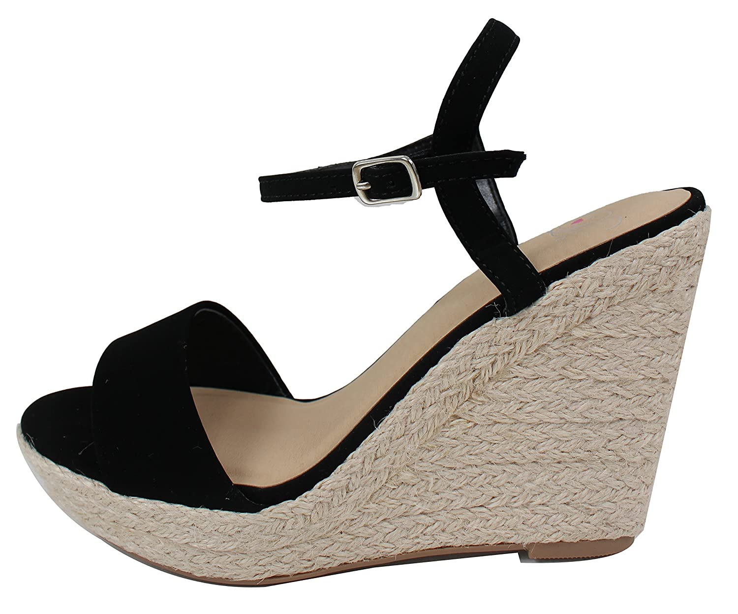 Delicious Womens Open Toe Ankle Strap Espadrille Wedge Sandal
