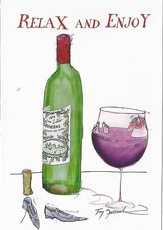 Relaxen Und Geniessen Cartoon Mann Rot Wein Flasche Glas Bad Jeden