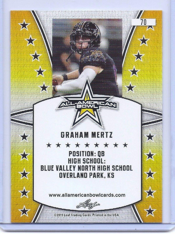 Wisconsin! Leaf Graham MERTZ 2019 1ST Ever Printed HIGH School All-American Rookie Card #70