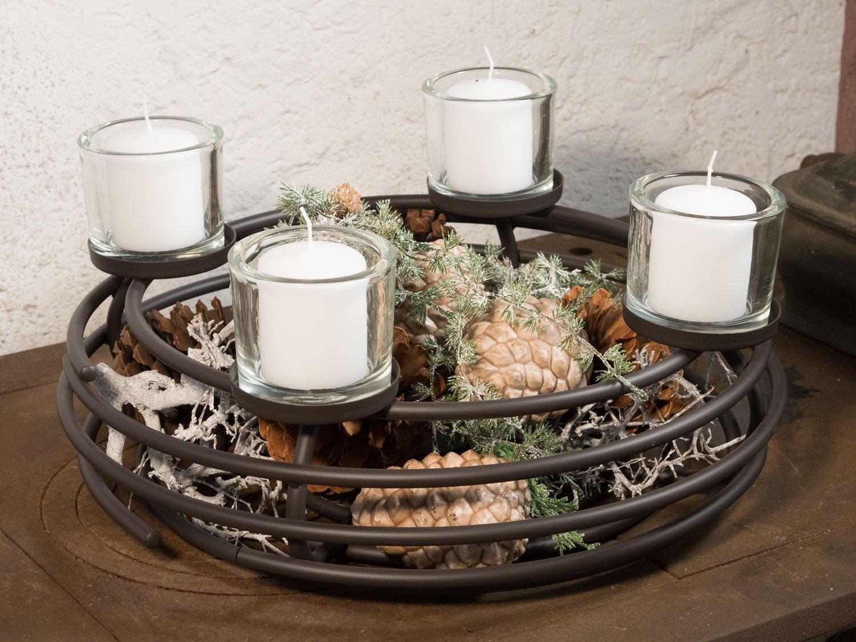 Adventskranz Kaufen adventskranz aus metall schwarz mit glaszylindern durchmesser 44 cm
