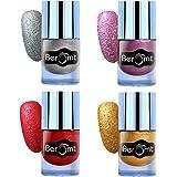 Beromt Sand Nail Polish, Matte nail paint, texture nail polish Combo Set of 4, 10 ml Each-Silver, Gold, Red, Pink