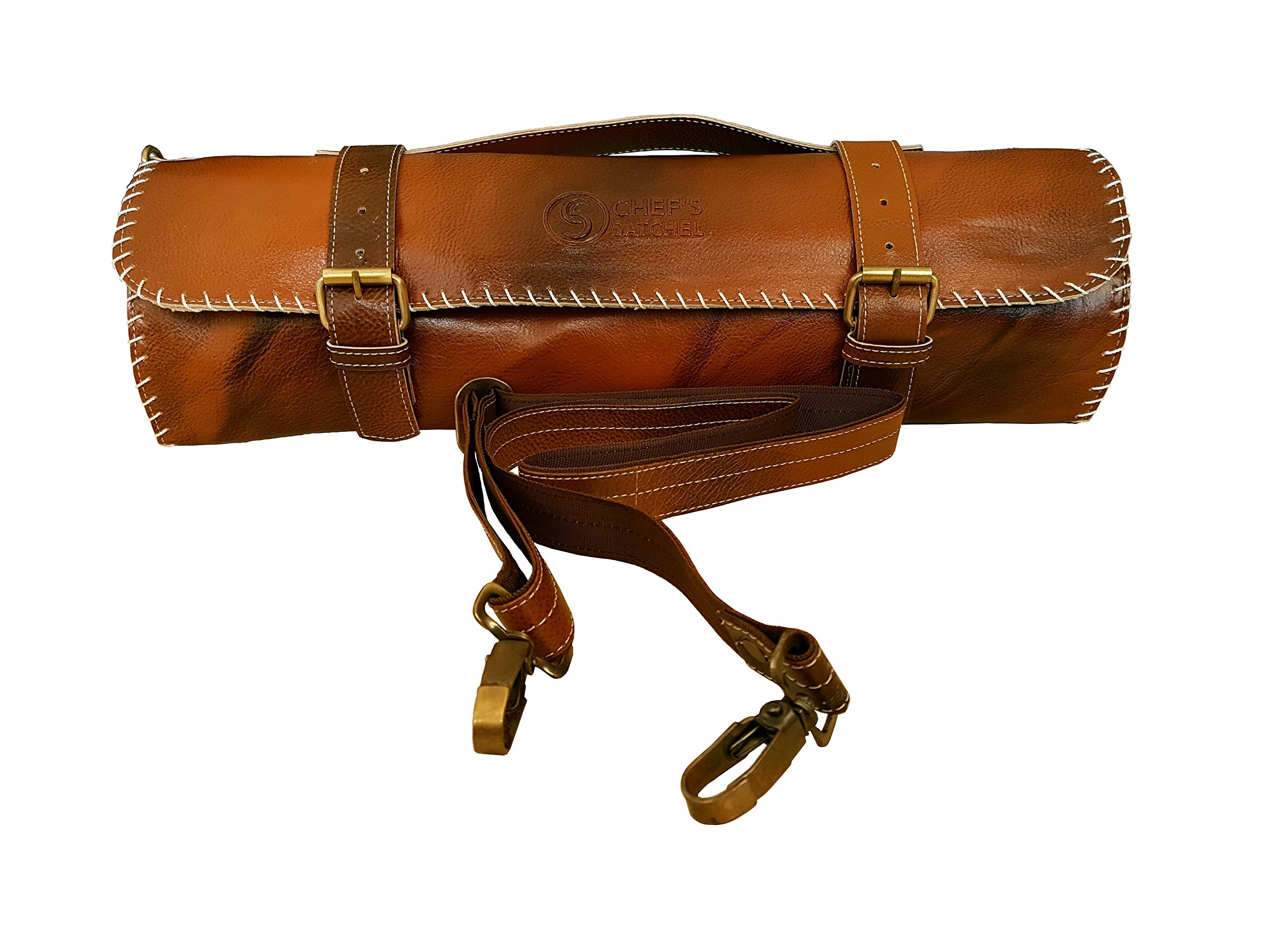 Handmade Leather Chef Knife Bag / Chef Knife Roll - 8 Pockets Tan Leather
