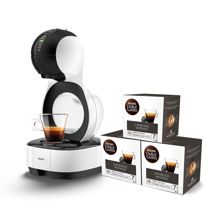 Pack Krups Dolce Gusto Lumio KP1301 - Cafetera de cápsulas, 15 bares de presión, color blanco + 3 packs de café Dolce Gusto Espresso Intenso: Amazon.es: ...
