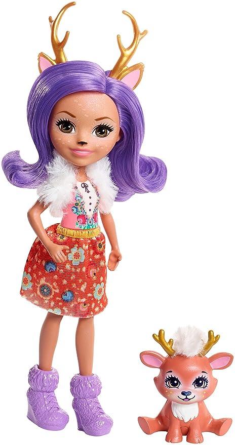 Enchantimals Mini-poupée Danessa Biche et Figurine Animale Sprint, aux cheveux violets avec jupe à motifs en tissu
